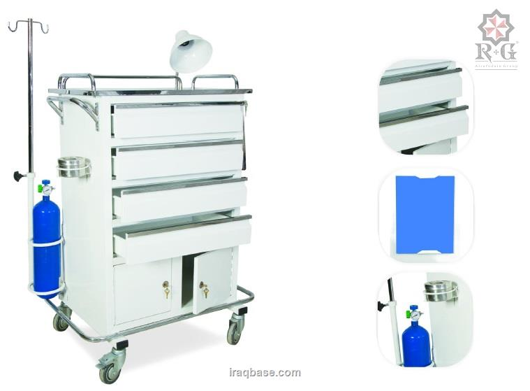 Emergency trolly metalloid (4 drawers-cabinet)model  1701